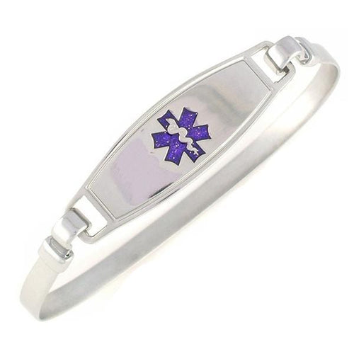 Purple Stainless Steel Bangle Medical ID Bracelet - n-styleid.com