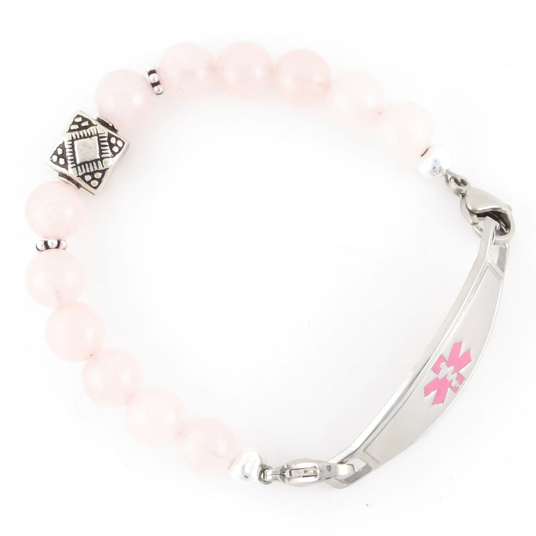 Rose Quartz Beaded Medical ID Bracelet with Bali sterling silver beads and stainless steel medic alert tag