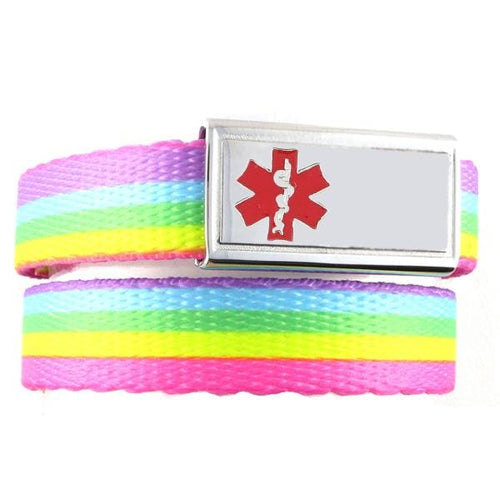 Rainbow Lights Medical Bracleets for Kids F/E