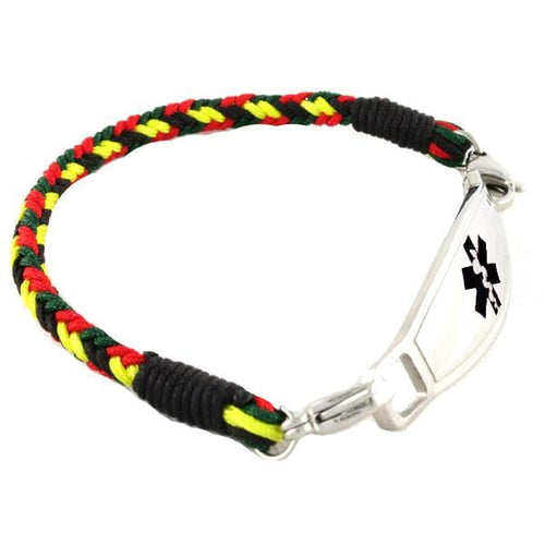 Rasta Braided Medical ID Bracelet - n-styleid.com