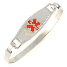 Red Stainless Steel Bangle Medical Bracelet - n-styleid.com