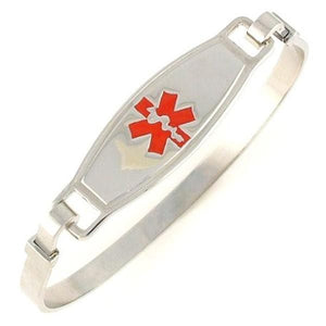 Red Stainless Steel Bangle Medical Bracelet