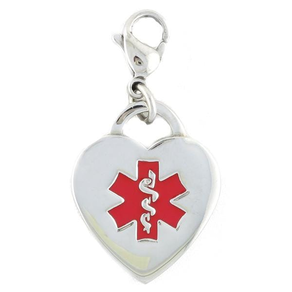 Red Caduceus Heart Medical Charm w/ Lobster Clasp to be worn on bracelet or necklace