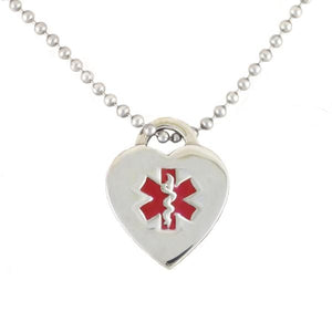 Red Heart Medical Necklace