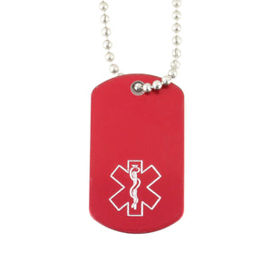 Red Mini Medical Dog Tag
