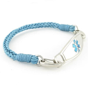 River Braided Medical ID Bracelet in blue nylon thread with stainless steel medical tag
