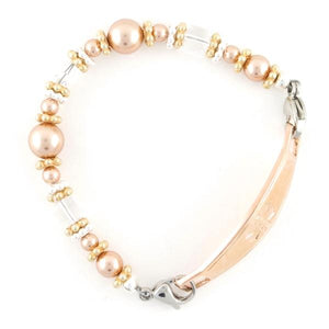 Rosy Beaded Medical Bracelet with pearls, Swarovski crystals, Bali beads and stainless steel medical alert tag