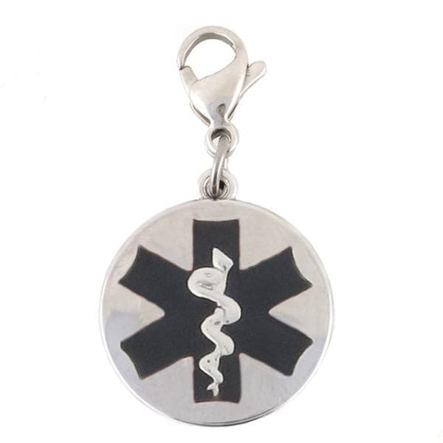 Black Round Medical Charm with Lobster Clasp