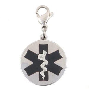 Black Round Medical Charm with Lobster Clasp - n-styleid.com