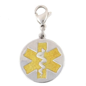 Gold Round Medical Charm with Lobster Clasp