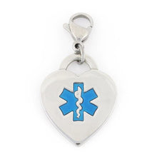 Royal Heart Medical Charms w/ Lobster Clasp