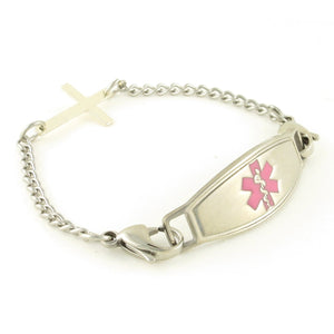 Sideways Cross Medical Alert Bracelet - n-styleid.com