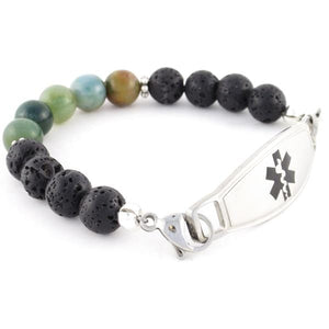 Simmer Beaded Medical Bracelet with lava and Indian agate beads and stainless steel medic alert tag