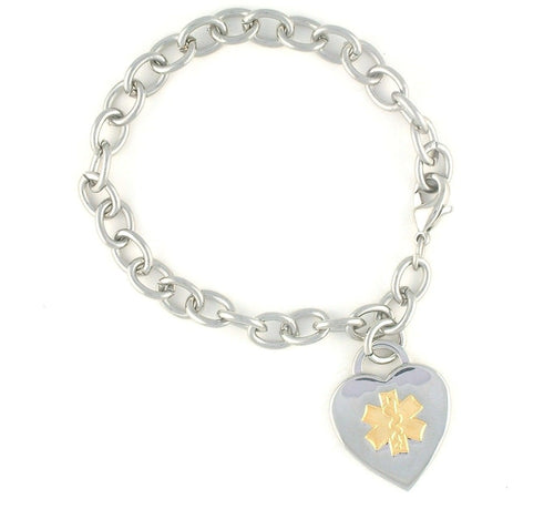 Simple Steel Medical Charm Bracelet