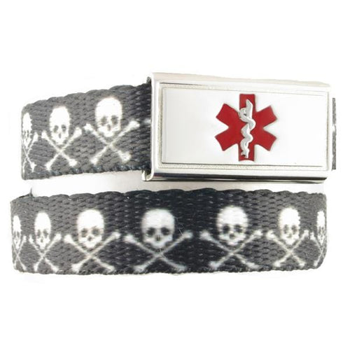Skull and Crossbones Kids Medical Bracelet
