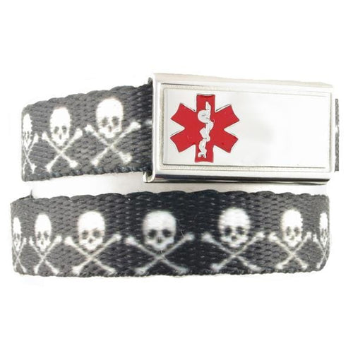 Skull and Crossbones Medical Bracelet for Kids F/E