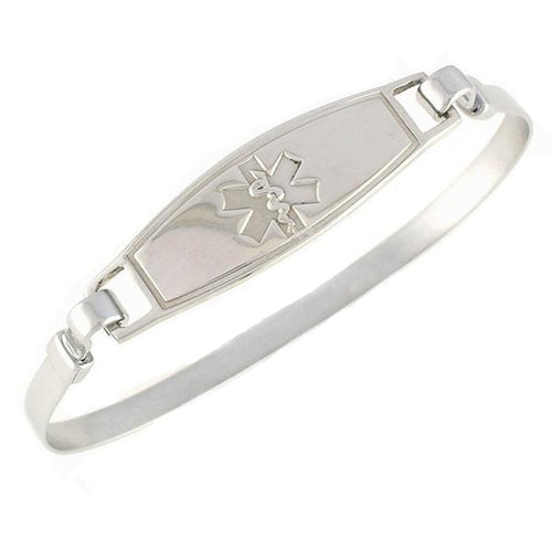 Solid Symbol Stainless Steel Bangle Medical Bracelet