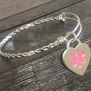 Steel Braid Medical Charm Bracelet - n-styleid.com