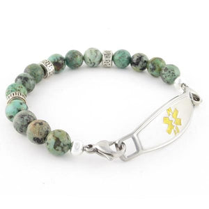 Tara Beaded Medical ID Bracelet with stainless steel medic alert ID tag