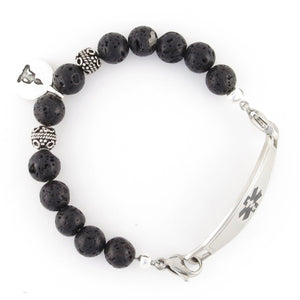 Healing Buddha Medical Bracelet with black lava and sterling silver Bali beads