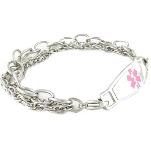 Women's Lymphedema Triple Stainless Steel Pink Medical ID Bracelet - n-styleid.com