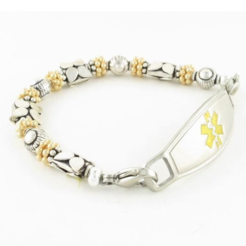 Tulip Beaded Sterling Silver Medical ID Bracelet with gold and silver Bali beads, lobster clasps attach to medical ID tag