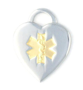 Two-Tone Heart Medical Charms w/Lobster Clasp - n-styleid.com
