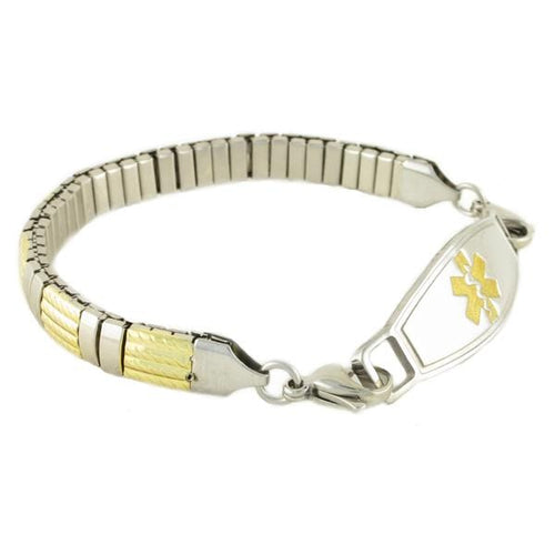 Vesta Stretch gold and silver Medical Bracelet with stainless steel medic alert ID tag