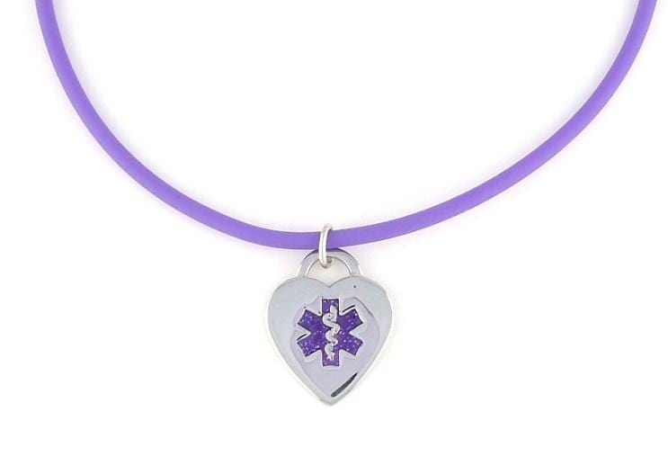 Violet Rubber Medical Necklace