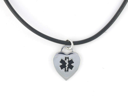 Black Rubber Medical Necklace - n-styleid.com