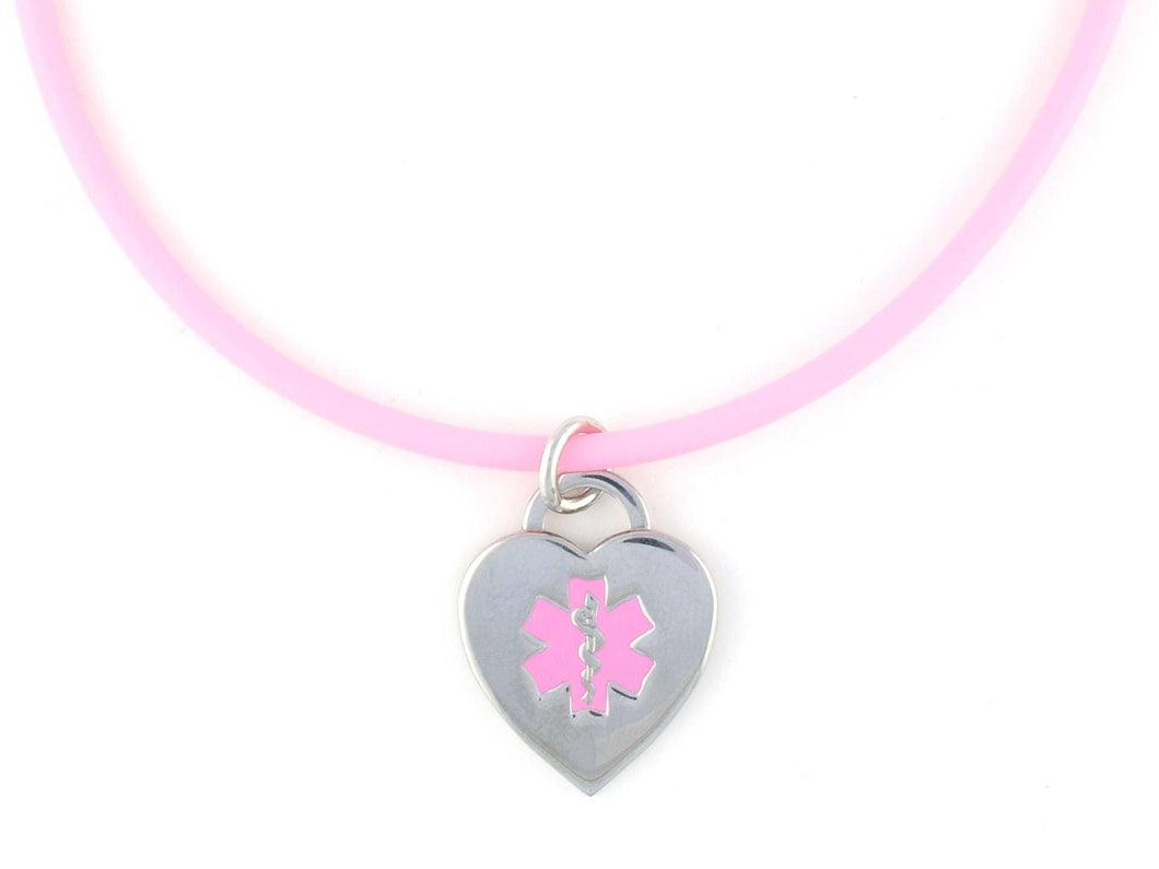 Pink Rubber Medical Necklace - n-styleid.com