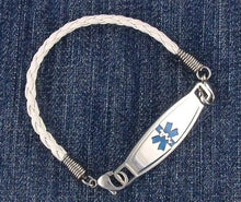 White Braided Leather Medical Bracelets - n-styleid.com