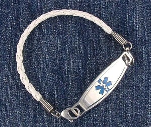 White Braided Leather medical ID bracelet with stainless steel medic alert tag