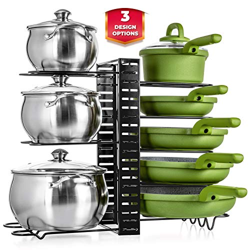 UPGRADED Kitchen Pot Pan Organizer  Cabinet Kitchen Organizers with Large Storage Capacity  Kitchen Cabinet Organizers and Storage for Small and Large Cookware  Countertop Pot Rack  Lid Organizer