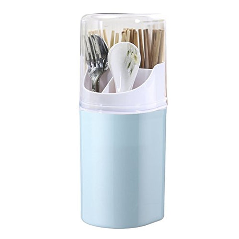 Liitrton Detachable Flatware Caddy Holder 4 Compartment Plastic Kitchen Utensil Holder with Cover for Cutlery Set (Blue)