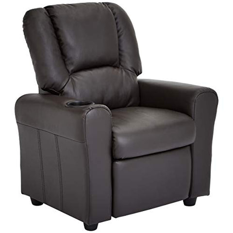 JC Home Bilbao Kids Recliner with Cup Holder and Headrest, Mocha Brown