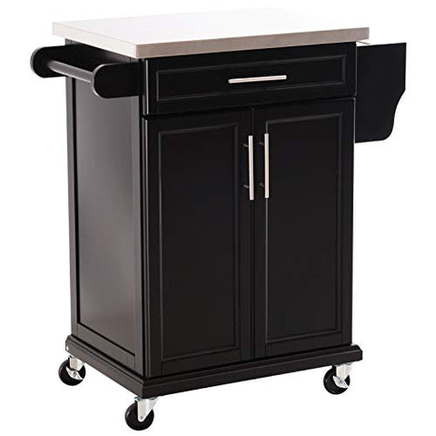 Black Modern Rolling Stainless Steel Top Kitchen Island Utility Cart 2 Tiers Cabinet 1 Drawer Slide Handle Spice Rack Knife Holder Pantry Silverware Utensils Kitchenware Dishware Storage Organizer