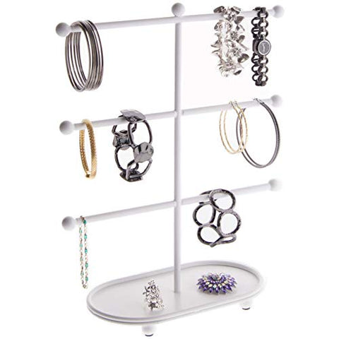Angelynn's Large Bracelet Holder Organizer Tree Stand Display Hanging Jewelry Storage Hoop Earring Rack, Amy White