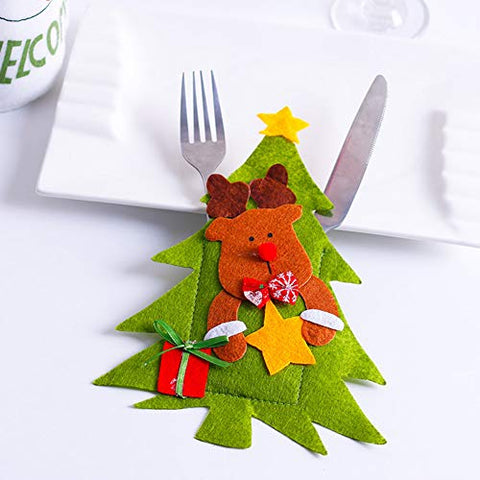 Christmas Cutlery Silverware Holder Pocket, Christmas Tree Shaped Santa Claus Snowman Pattern Tableware Decorations Fork Knife Kitchen Cutlery Bag for Christmas Party (Elk)
