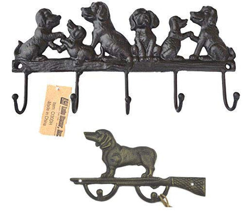 Lulu Decor, Cast Iron 5 Dog Key Hooks with Hunter Dog Key Holder, Black Hooks, Solid Sturdy Design, Ideal for Dog Lovers (Combo Offer)