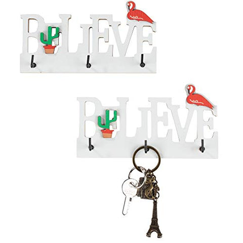 Key Holder for Wall - 2-Count Believe Wall Mounted Key Hook, Wooden Key Hanger Rack, 5.875 x 1 x 3.125 Inches