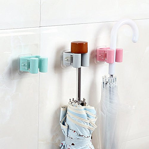 Broom Mop Grippers Self Adhesive Wall Mounted Mop Hooks Broom Hanger Holder