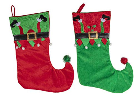 Juvale Elf Leg Christmas Stockings - 2-Pack Holiday Red and Green Hanging Sock Ornament, Large Festive Gifts Holder, Santa Elf Shoes Design with Belt and Pom Pom, 14.9 x 10.5 Inches