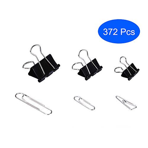 Aelfox 372 Pcs Binder Clips Assorted Sizes & Paper Clips Assorted Sizes Small Large for Paper Organizer/Office/Home/School Organizer