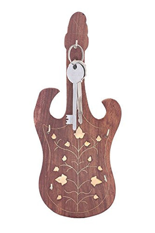 WhopperIndia Wooden Handmade Wall Mounted Key Holder Key Organizer with Brass Inlay and Guitar Shape 5 Hooks 9 Inch