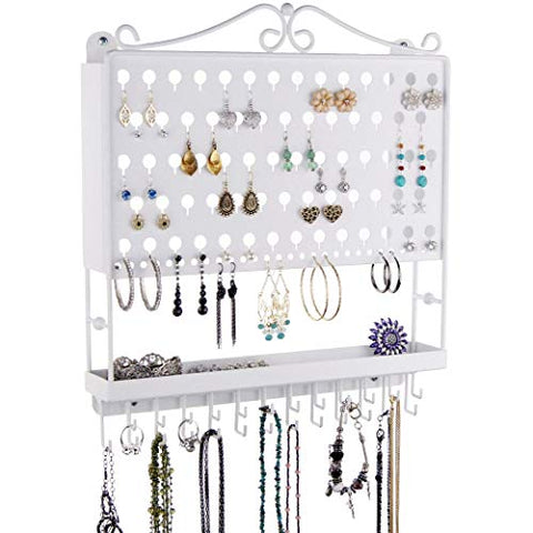 Angelynn's Jewelry Organizer Wall Mount Hanging Stud Earring Holder Organizer Display Necklace Storage Closet Rack Tray, White