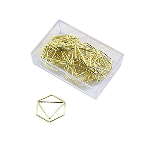 25 Pieces Binder Clips Hexagon Shape Paper Clips Office Accessories Bookmark