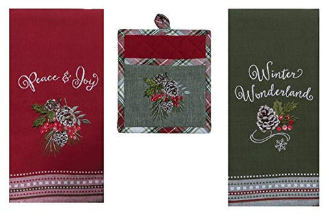 Christmas Woodland Kitchen Towels and Pocket Pot Holder Bundle – Pinecones Holly