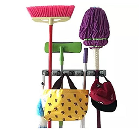 Mop and Broom Holder, Multipurpose 5 position with 6 hooks garage storage Holds up to 11 Tools, storage solutions for broom holders, garage storage systems broom organizer for garage shelving ideas