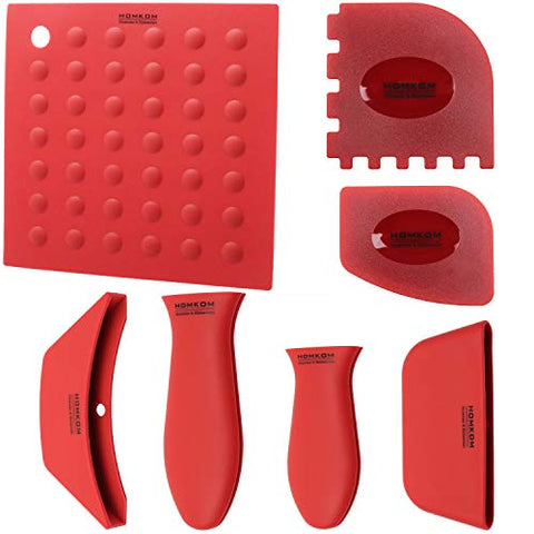 Handle Holder Pan Scraper Grill Silicone Trivets Scraper Potholder Silicone Hot Handle Holder Pot Cover Pot Mat Assist Handle for Cast Iron Skillets Pans Metal and Aluminum Cookware Handles (Red)